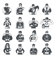 Superhero Black White Icons Set vector image vector image