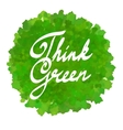 think green on watercolor spot vector image vector image