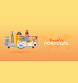travel to portugal airplane with attractions vector image vector image