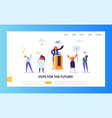 voting elections landing page template people vector image vector image
