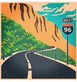 Winding mountain road old poster vector image vector image