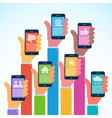 Hands with modern smartphones - flat design vector image