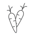 carrot thin line icon food and vegetable vector image vector image