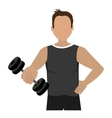 cartoon avatar man with dumbbells graphic vector image