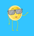 cartoon character cool funny golden coin vector image