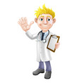 cartoon doctor with clipboard vector image vector image