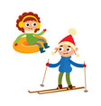 cartoon teenages in winter clothes cartoon vector image