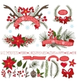 ChristmasNew year decor setSpruce branchescones vector image vector image