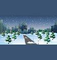 cityscape scene at winter night vector image vector image