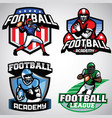 collection of american football badge designs vector image
