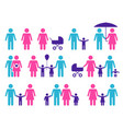 color family icons happy parents and children vector image vector image