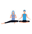 couple yoga poses vector image vector image