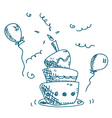 doodle cake vector image vector image