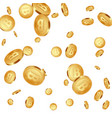 falling metallic bitcoins background vector image