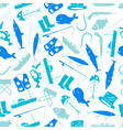 fishing icons blue and white pattern eps10 vector image