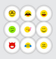 flat icon gesture set of descant cheerful frown vector image vector image