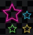Glowing neon stars set four