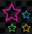 glowing neon stars set of four vector image