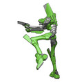 green robot with gun on white background vector image vector image