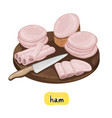 ham on white background vector image
