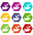 hand sprout icons set 9 vector image vector image