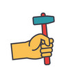 hand with hammer flat line concept vector image vector image