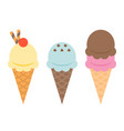 ice cream cone waffle with topping vector image vector image