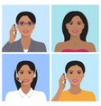 indian woman avatar set vector image vector image