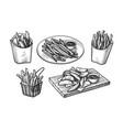 ink sketch fried potatoes vector image vector image