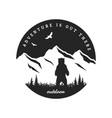 journey into wild badge t-shirt design vector image vector image