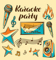 karaoke party items music event set of objects vector image
