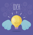 light bulb idea with wings vector image vector image