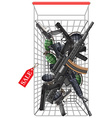 Many kind of weapons in the shopping cart vector image vector image