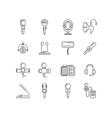 Microphone speaker line icons vector image vector image