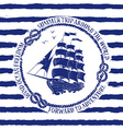 Nautical emblem with sailing ship vector image vector image
