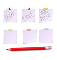 Notes white and pensil with text vector image vector image