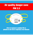 protective mask for air quality danger zone pm 25 vector image vector image