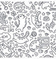 seamless pattern with cute cats line drawing vector image vector image