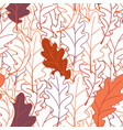 seamless plant pattern of oak leaves line drawing vector image vector image