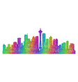Seattle skyline silhouette - multicolor line art vector image vector image