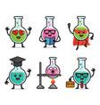 set lab bottle character design vector image