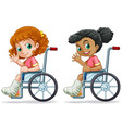set of girls on wheelchair vector image vector image