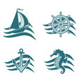 set of logos on the theme of the sea vector image vector image