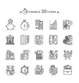 Set of Outline Finance Icons on White Background vector image vector image