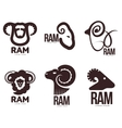 Set of ram sheep lamb head graphic logo vector image