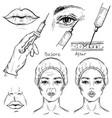 sketch of botox injection cosmetic procedure set vector image vector image