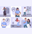 smoking youth compositions set vector image vector image