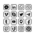 social media icons popular messengers web vector image