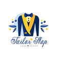 tailor shop logo design dressmakers salon sewing vector image