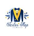 tailor shop logo design dressmakers salon sewing vector image vector image